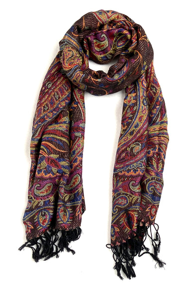wool and silk blend paisley scarf monarch color black gold red blue