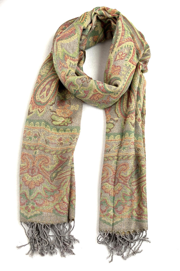 wool and silk blend paisley pattern scarf colors sand green orange