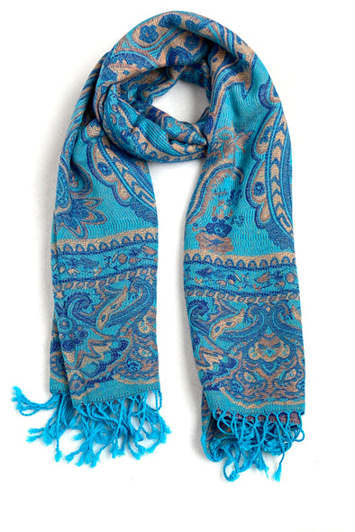 wool and silk blend paisley pattern scarf lagoon color turquoise blue gold