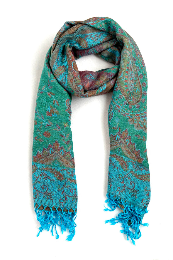 wool and silk blend paisley pattern scarf pool color green teal orange gold