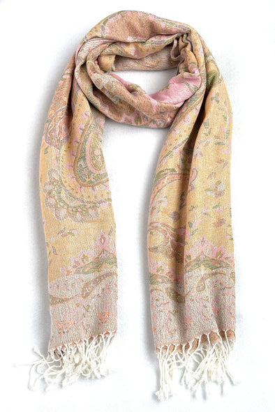 wool and silk blend paisley pattern scarf sunrise color yellow white green pink