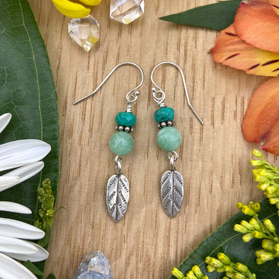 Delicate Sterling Silver Earring with Thai Silver Charm - Leaf and Jade