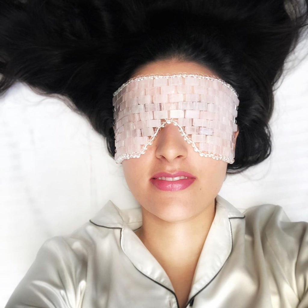 NEW- Jade & Rose Quartz Eye Mask