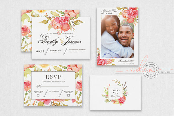 IDEA #001 : Free Watercolor Wedding Invitation Suite