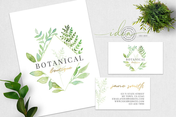 IDEA #002 : Free Watercolor Botanical Logo & Business Card
