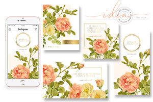 IDEA #003 : Free Pink Rose and Gold Instagram Templates