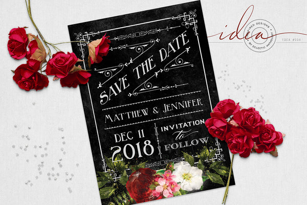 IDEA #006 : FREE Vintage Rose Wedding Save the Date Card