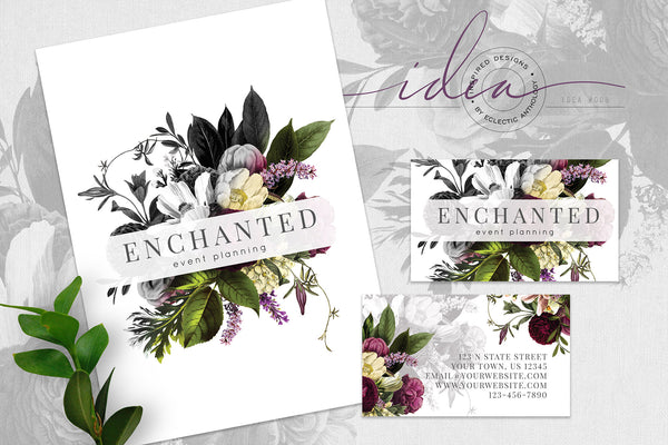 IDEA #008: FREE Dramatic Botanical Logo and Business Card
