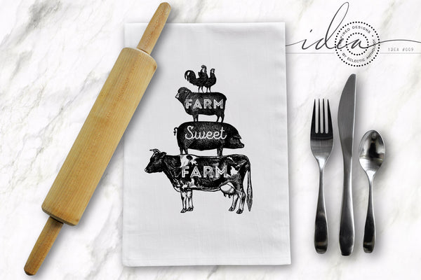 IDEA #009: FREE Farmhouse Tea Towel Designs