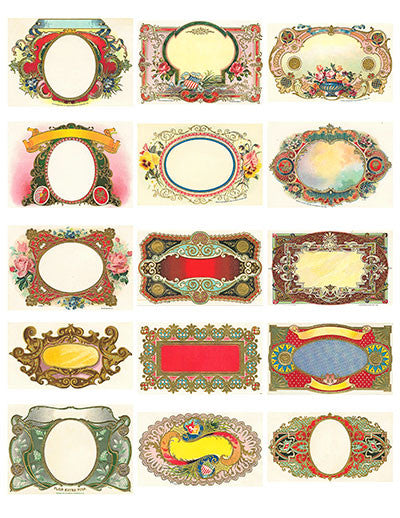Free Vintage Labels Graphics Collage Sheet