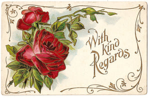 Free Graphic Friday - Red Rose Postcard