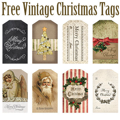 image relating to Free Vintage Printable identified as Absolutely free Printable Typical Xmas Tags Avalon Rose Style