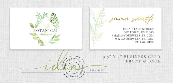 Free Botanical Watercolor Logo Business Card Design