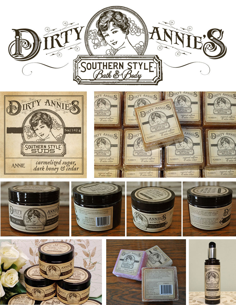 Custom Logo, Website and Packaging for Dirty Annies Soap