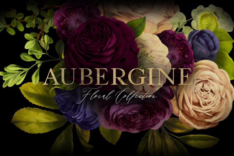 Aubergine Floral Clip Art Graphics Collection