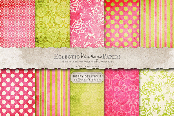 Vintage Printable Papers - Berry Delicious