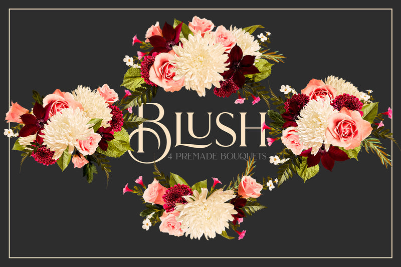 Blush Floral Patterns & Clip Art Kit Collection