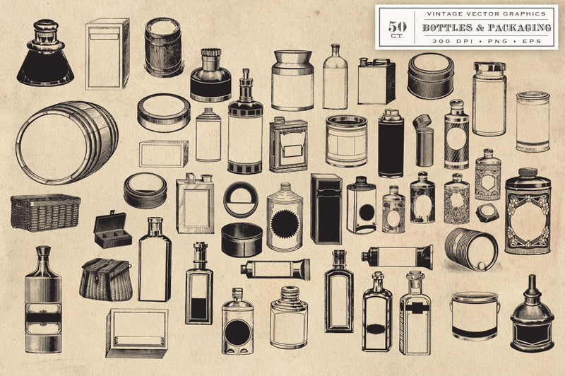 Vintage Bottles and Packaging Graphics