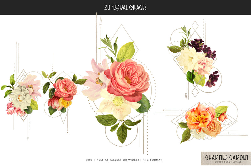 Charmed Garden Gilded Deco Floral Collection
