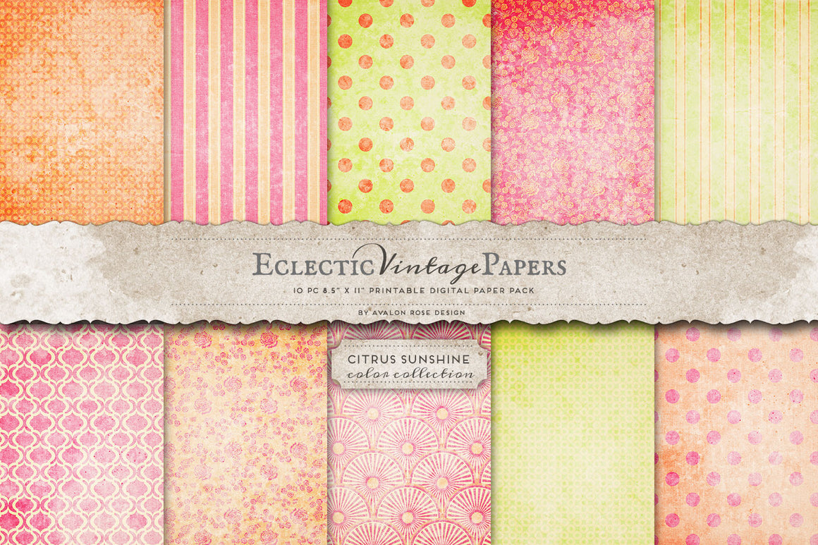 Vintage Printable Papers - Citrus Sunshine