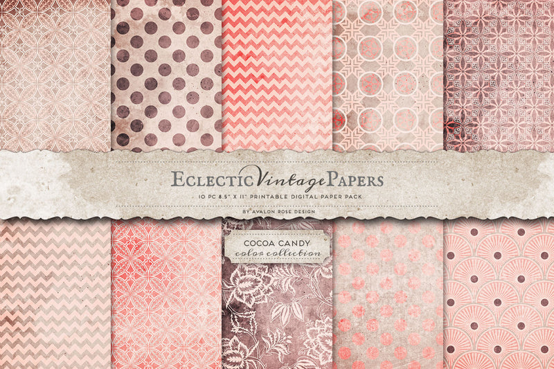 Vintage Printable Papers - Cocoa Candy