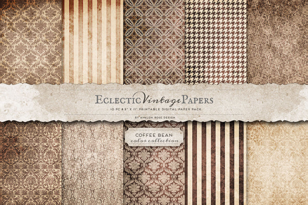 Vintage Printable Papers - Coffee Bean
