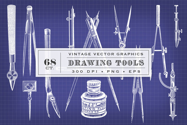Vintage Vector Drawing Tools Graphics