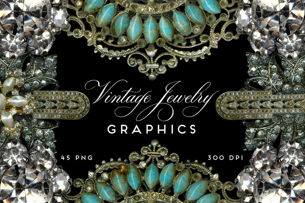 Vintage Jewelry Rhinestone Graphics