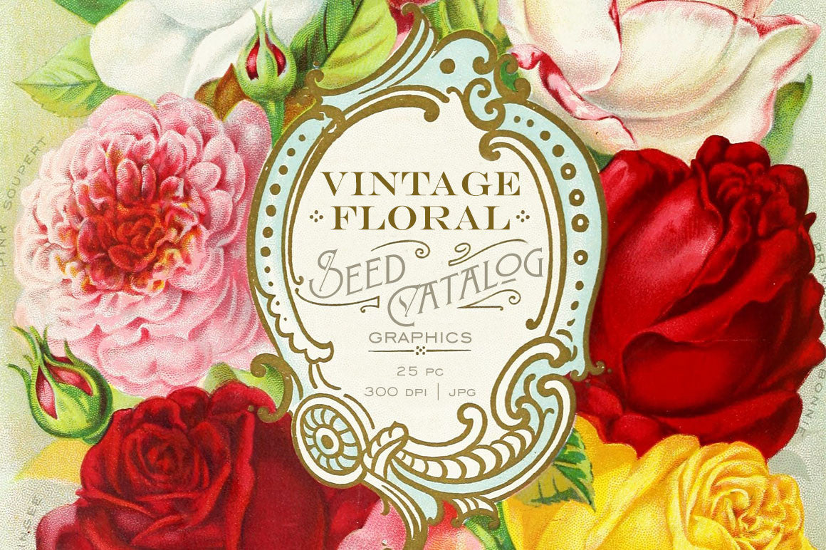 Vintage Floral Seed Catalog Graphics