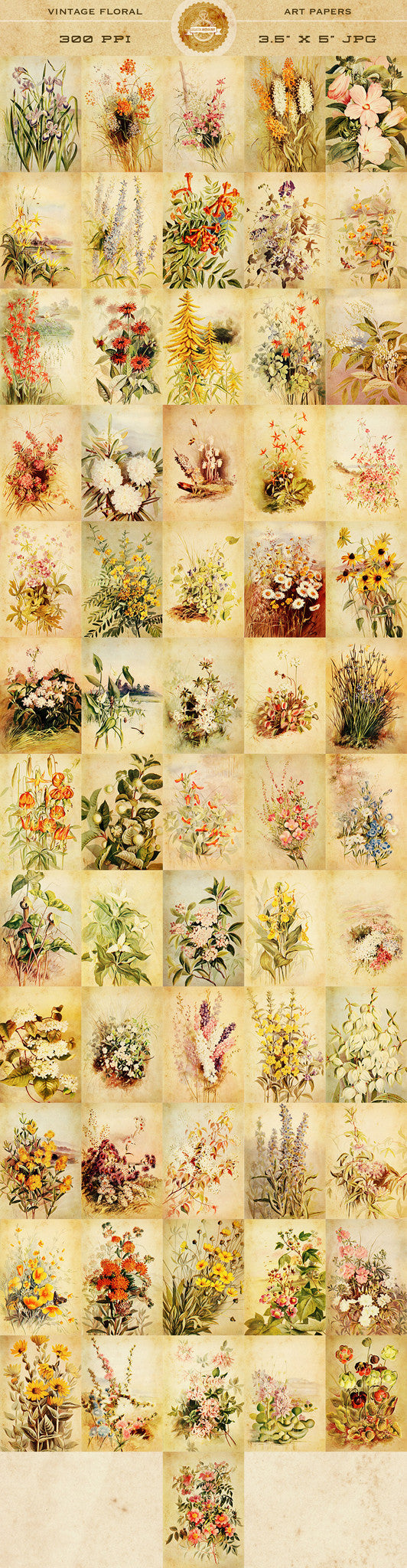 Vintage Floral Art Papers Graphics