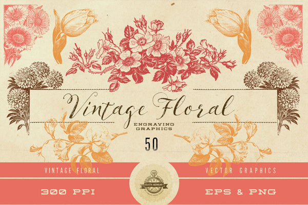 Vintage Flower Vector Graphics