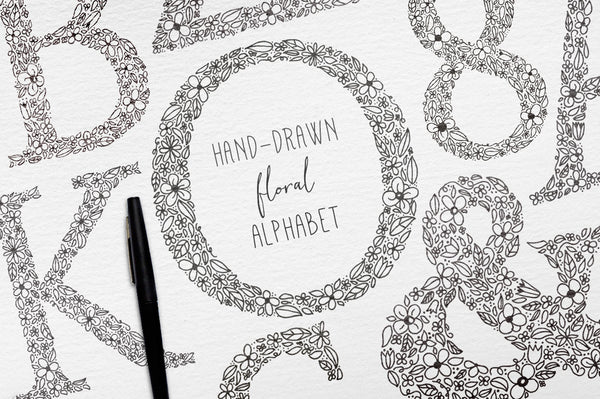 Hand Drawn Floral Vector Alphabet