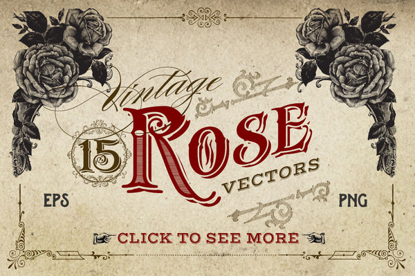 Vintage Rose Vector Graphics