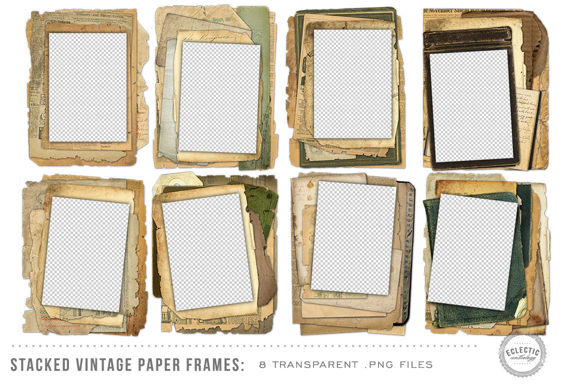 8 Stacked Vintage Paper Frames Avalon Rose Design