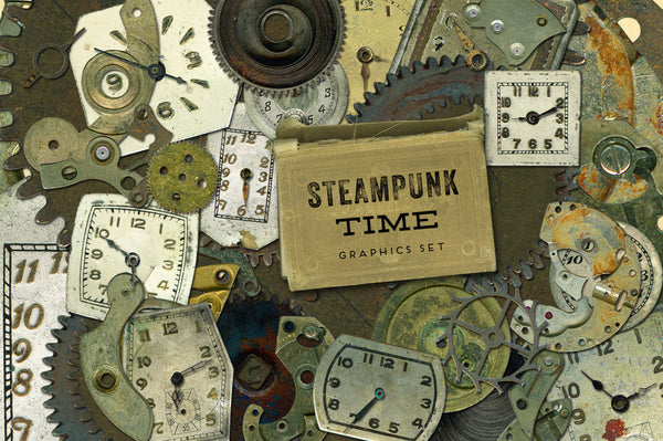 Steampunk Time Vintage Watch & Gear Graphics
