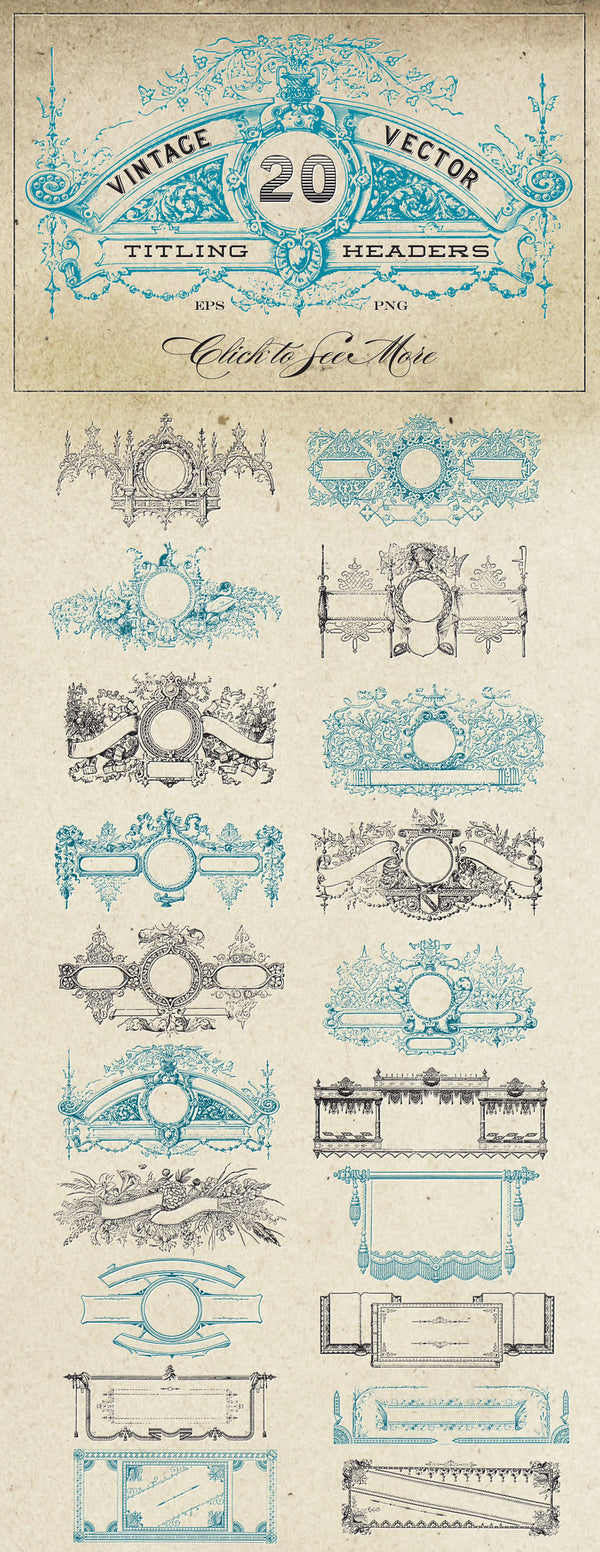 Vintage Vector Titling Header Frame Graphics