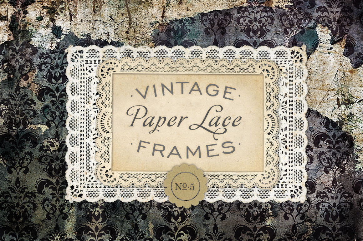 Antique Paper Lace Frames Graphics No. 5