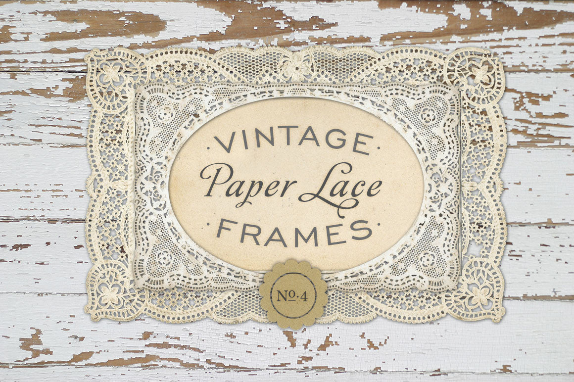 Antique Paper Lace Frames Graphics No. 4