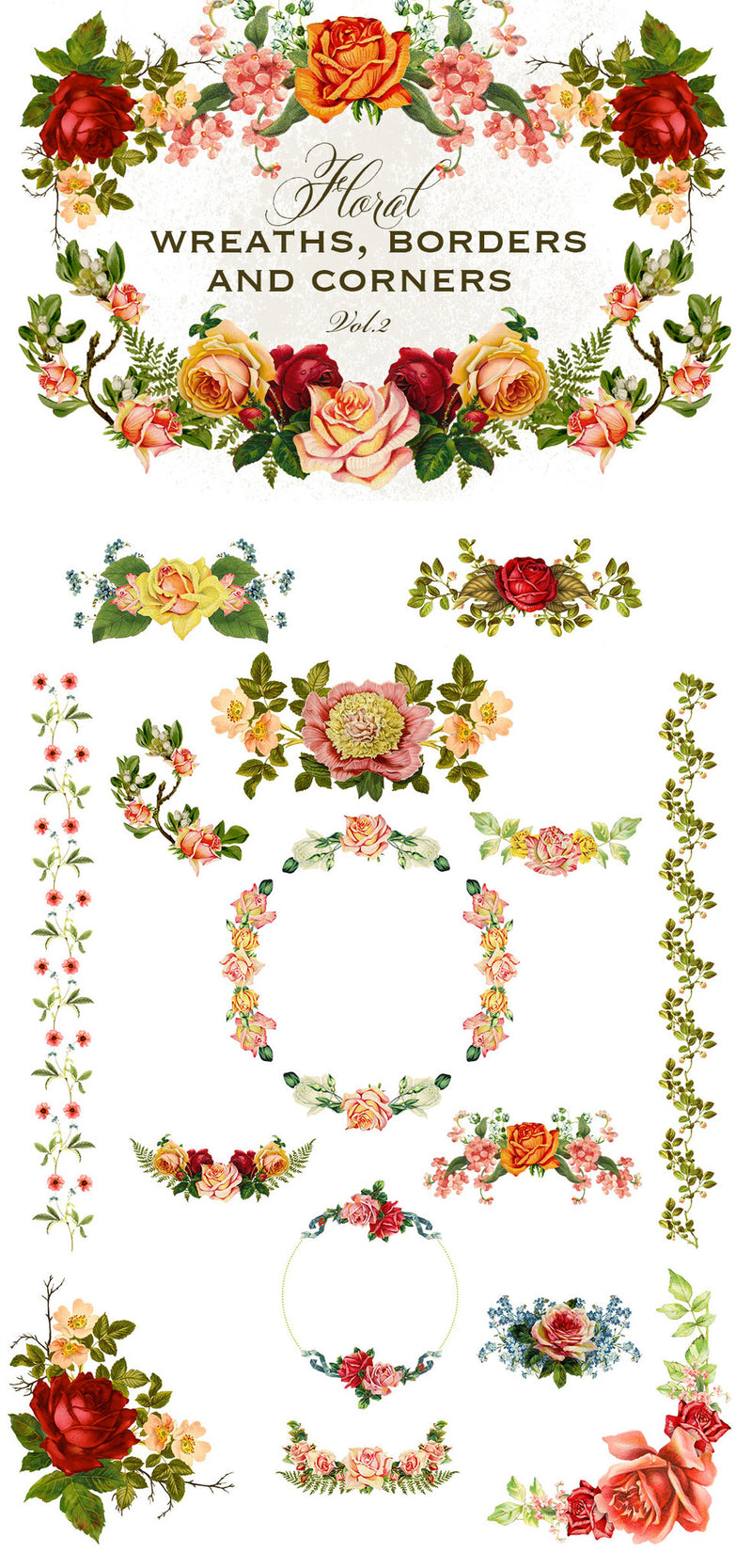 Floral Wreaths, Borders and Corners Vol. 2
