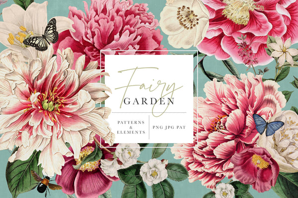Fairy Garden Floral Pattern & Graphics Kit