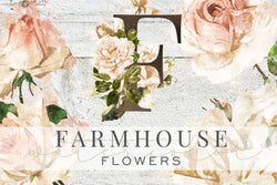 Farmhouse Watercolor Flower Graphics