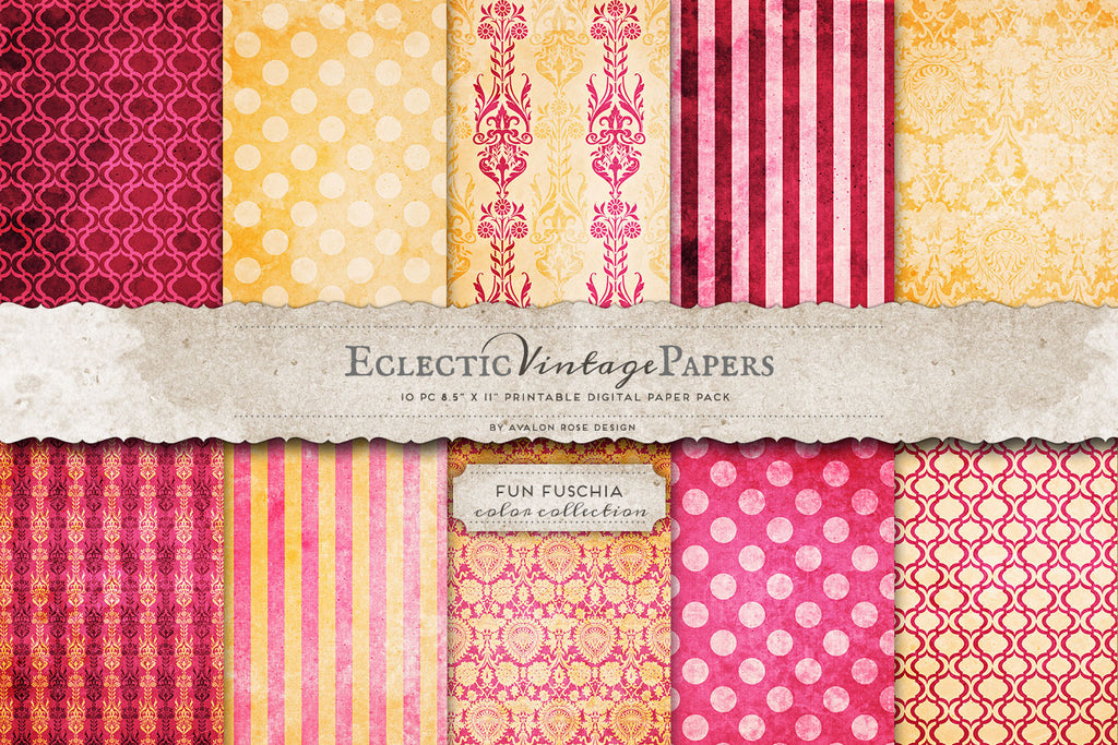 Vintage Printable Papers - Fun Fuschia
