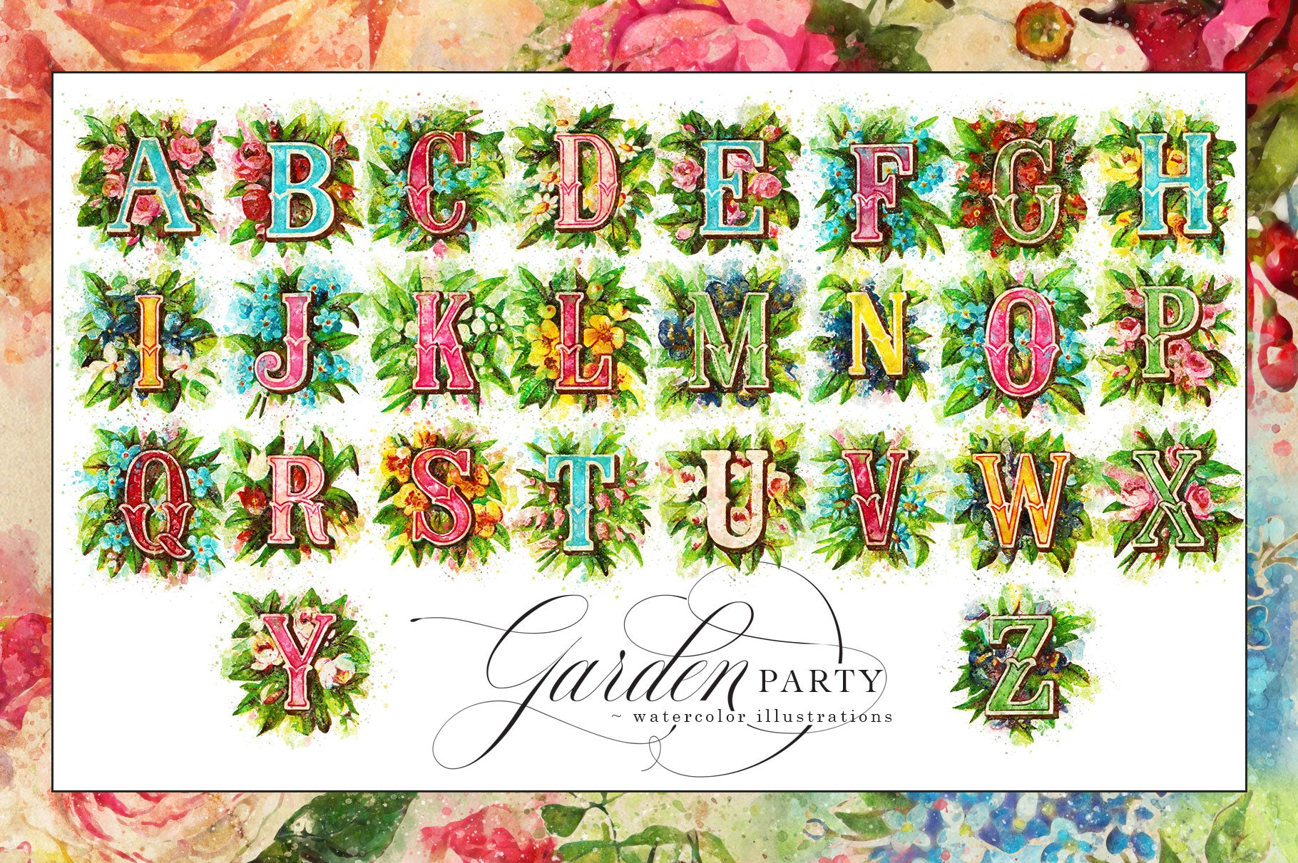 Garden Party Watercolor Graphics