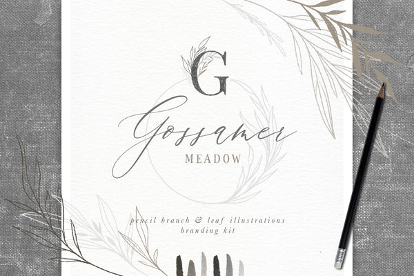 Gossamer Meadow Pencil Branch & Leaf Illustrations