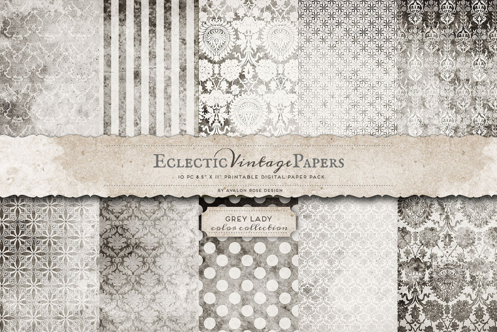 Vintage Printable Papers - Grey Lady