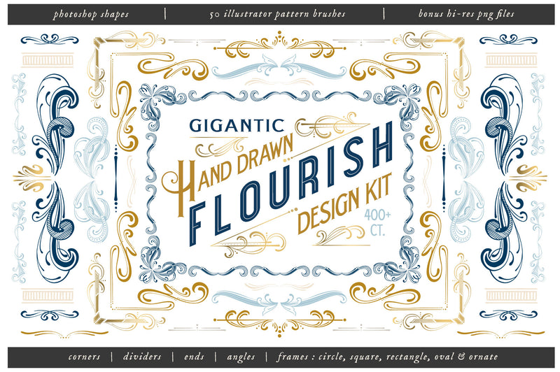 Gigantic Hand Drawn Flourish Design Kit