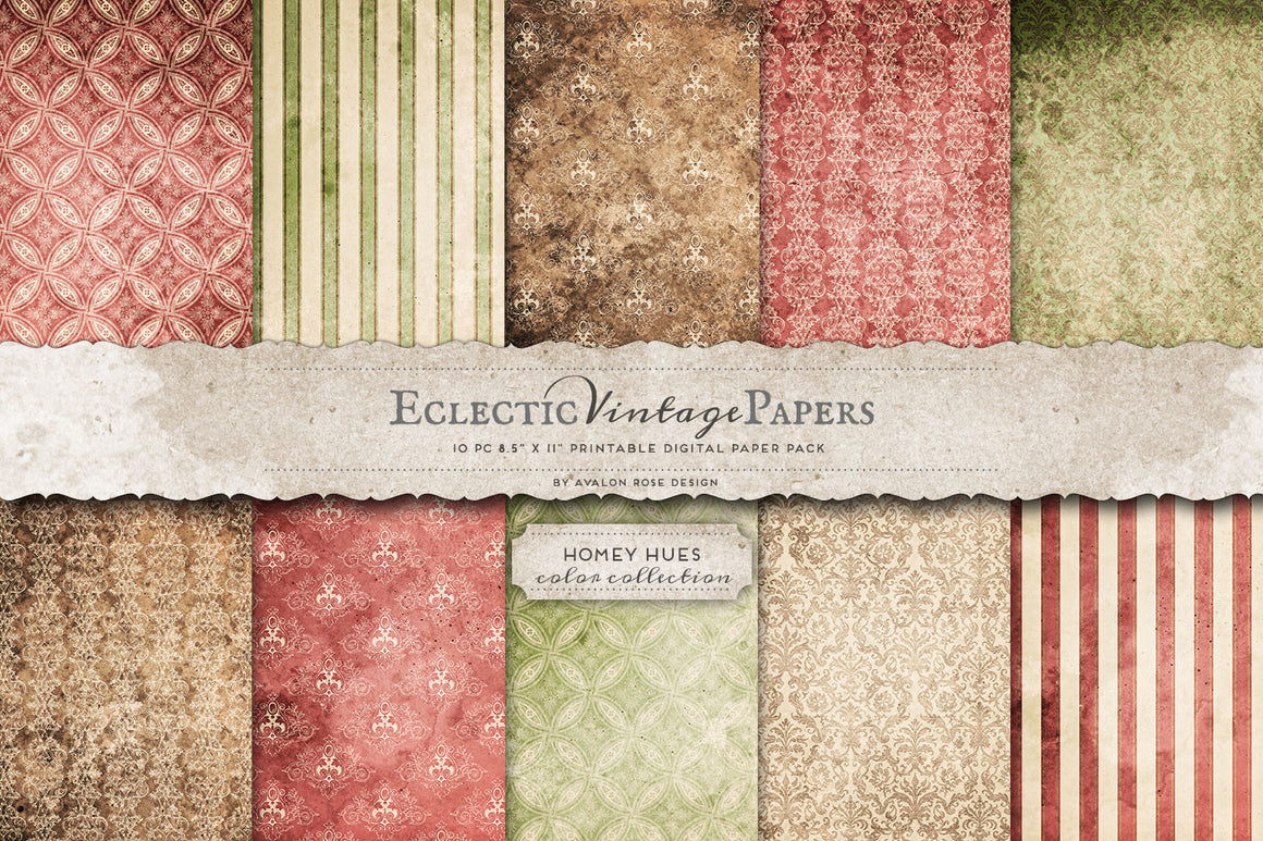 Vintage Printable Papers - Homey Hues