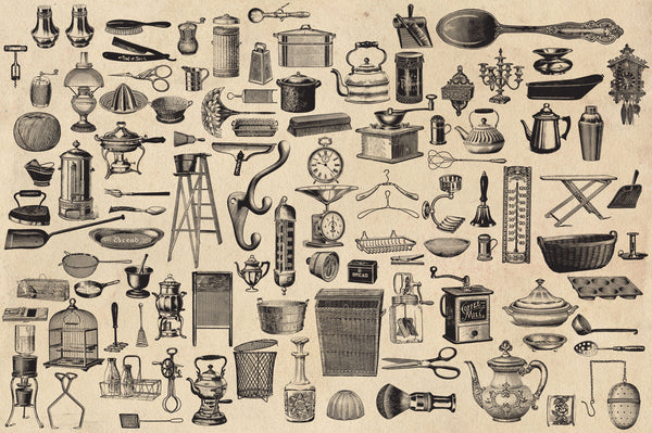 Vintage Household Goods Vector Graphics