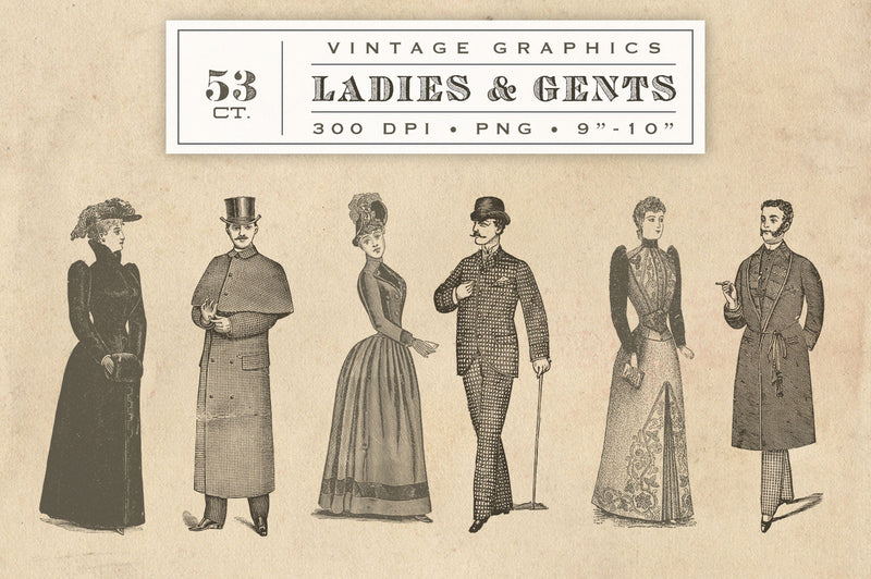 Vintage Ladies and Gentlemen Graphics