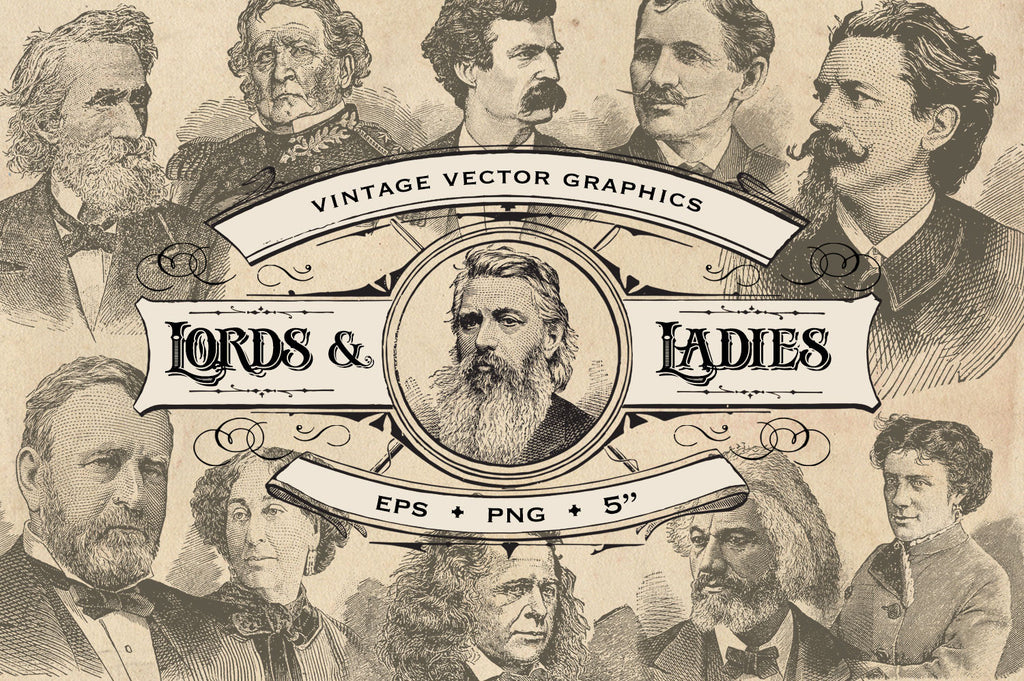 Vintage Lords and Ladies Vector Graphics